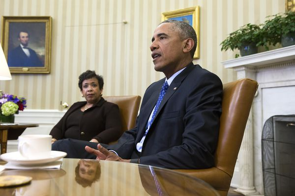 President Barack Obama meets in the Oval Office with Attorney General Loretta Lynch to discuss what executive actions he can take to curb gun violence, in Washington on Monday.