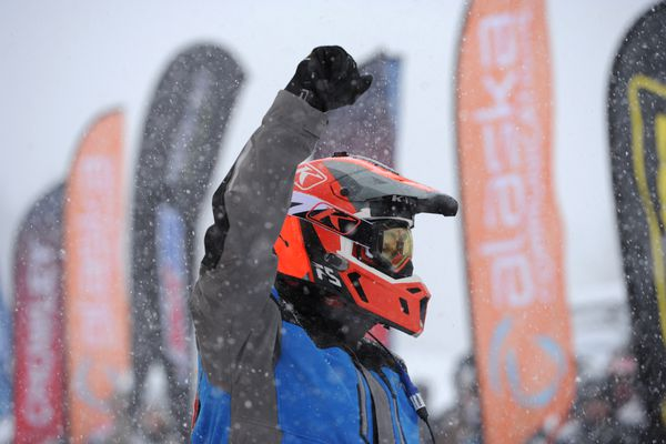 Defending Iron Dog champion Chris Olds prepares to leave the Pro Class start at Deshka Landing in Willow during a snowstorm on Sunday, Feb. 17, 2019. (Bill Roth / ADN)