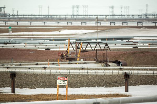 Pipelines snake across Prudhoe Bay, Alaska on Thursday, May 21, 2015. (Loren Holmes / Alaska Dispatch News)
