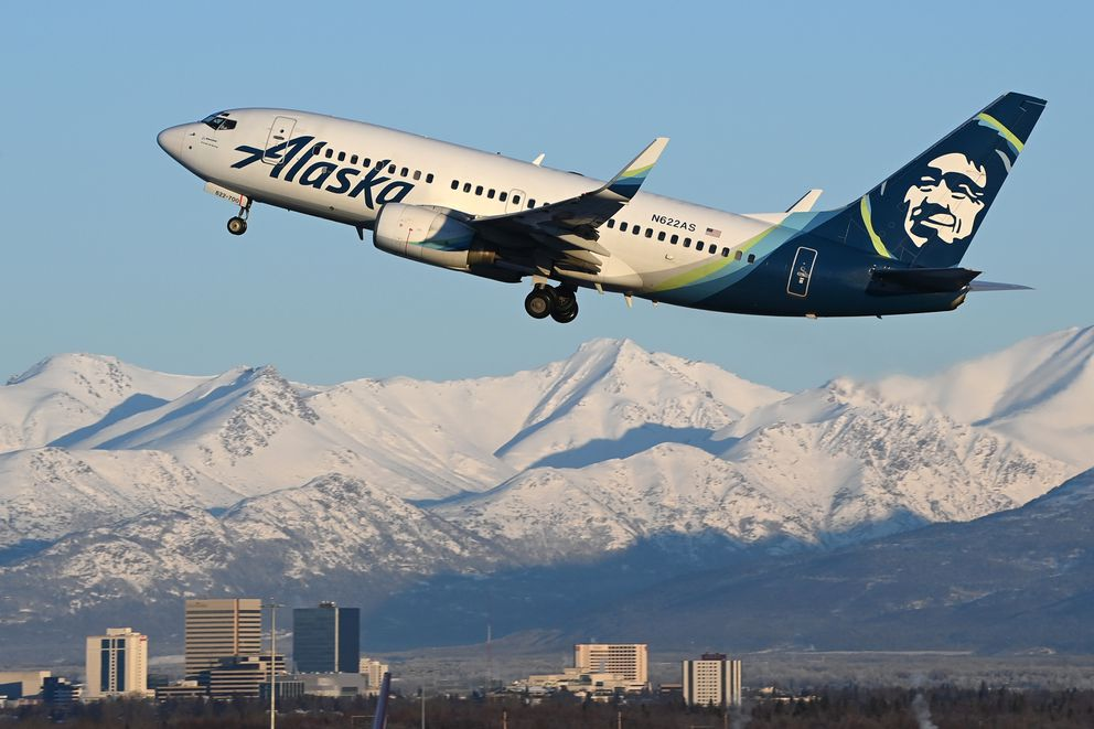 An Alaska Airlines Boeing 737 departs from Ted Stevens Anchorage International Airport en route to Deadhorse on Tuesday, Jan. 26, 2021. (Bill Roth / ADN)