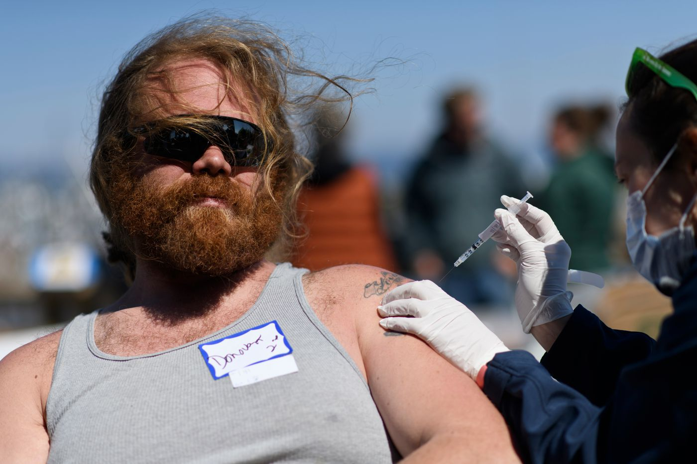 Donovan Goforth visited the pop-up vaccine clinic near the Homer boat harbor for his second dose of COVID-19 vaccine. Goforth said he wanted to be vaccinated so he could visit his grandparents in California. (Marc Lester / ADN)