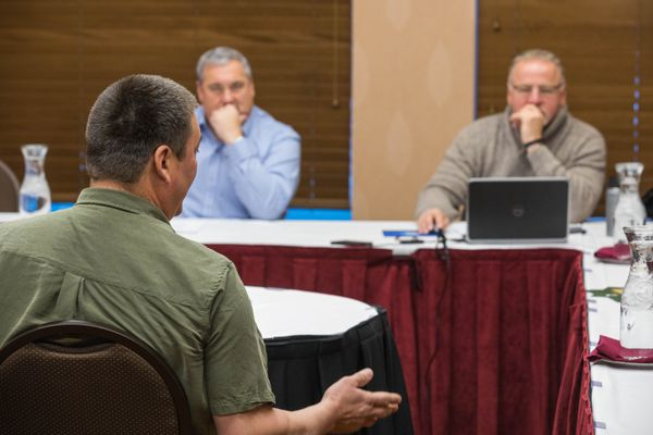 2011 Iditarod champion John Baker speaks to the Iditarod Trail Committee board during a meeting where the board adopted new rules allowing two-way communication, at the Lakefront hotel in Anchorage in 2016. (Loren Holmes / Alaska Dispatch News)