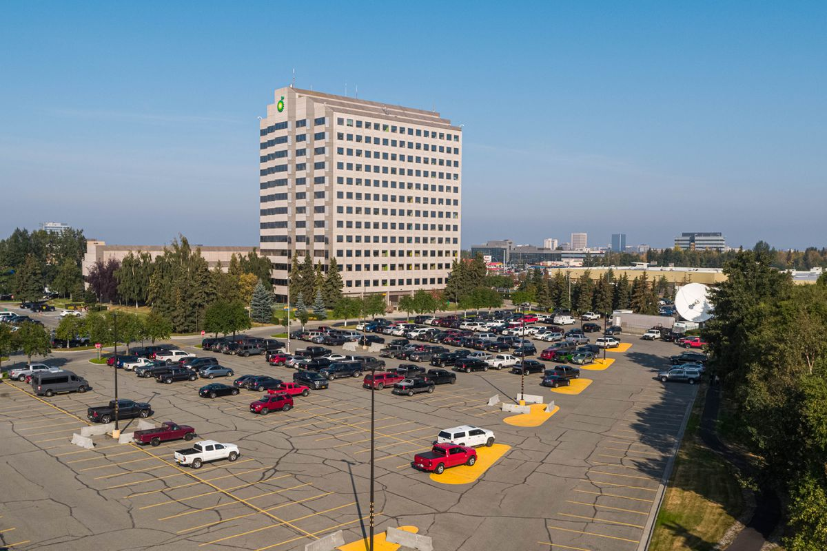 The BP building in Midtown Anchorage on Tuesday, Aug. 27, 2019. BP announced that it plans to sell all of its Alaska assets to Hilcorp Alaska for $5.6 billion. (Loren Holmes / ADN)