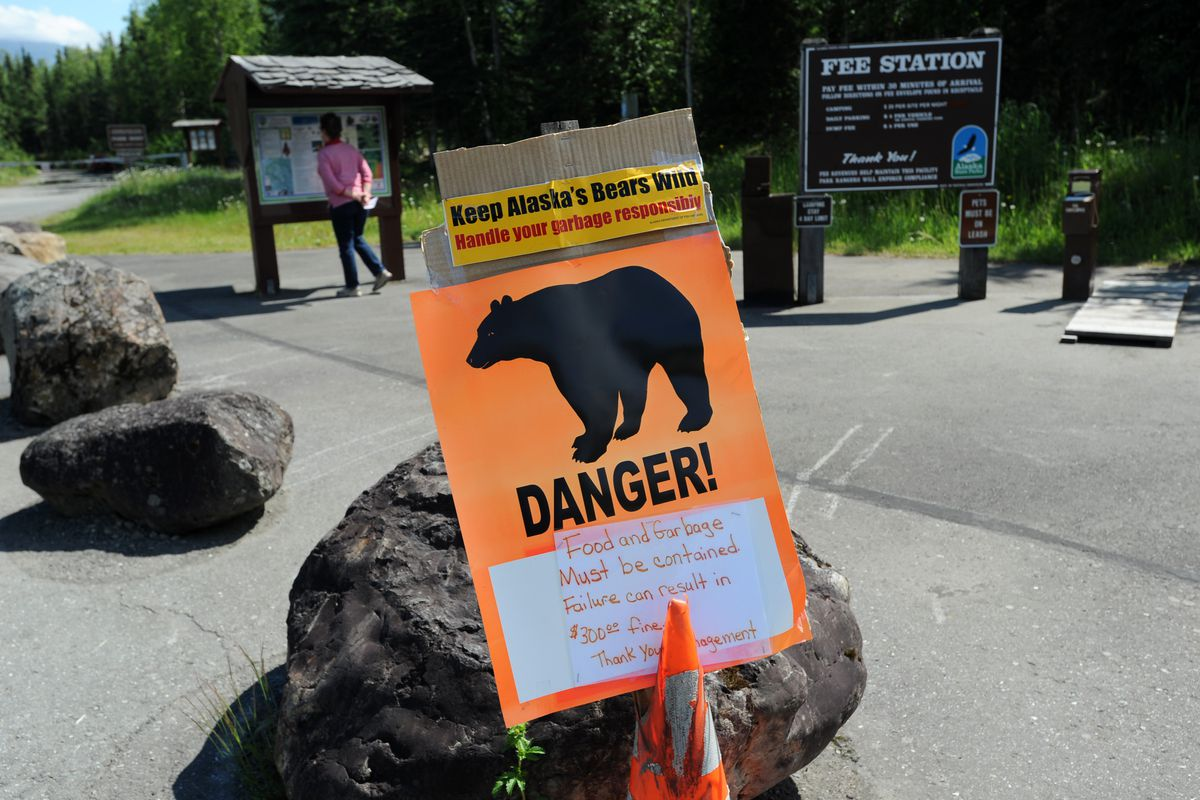 Visitors are threatened with fines for leaving food and garbage out on Wednesday at Eagle River Campground. (Erik Hill / Alaska Dispatch News)