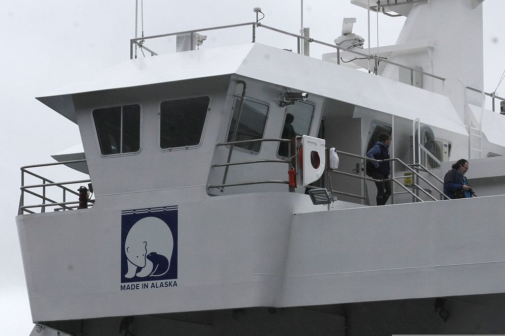 The new ferry Tazlina, which was all constructed in Alaska, will begin service Tuesday and was open for tours on Sunday, May 5, 2019, in Juneau. (Alex McCarthy/Juneau Empire via AP)