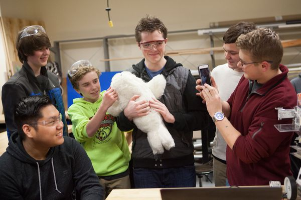 Dr. Takanori Shibata shows students from the Nerds of the North program his neurological therapeutic medical robot Paro in the Dimond Engineering lab at Dimond High School in Anchorage, Alaska Thursday, Feb. 25, 2016.