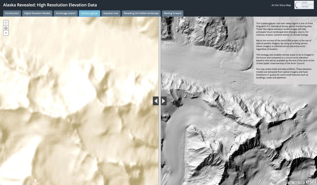 The Gulkana glacier and river valley region is one of three long-term U.S. Geological Survey glacial monitoring sites. The map on the right shows an image based on a new dataset that was recently collected by Digital Globe for the National Geospatial-Intelligence Agency. The map on the left shows the National Elevation Dataset, or NED. It is currently the best full-coverage collection available for the United States. (PGC, NGA, ESRI)