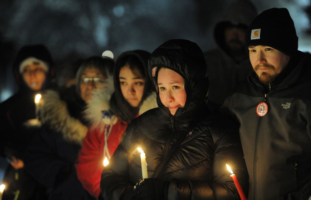 Vigils were held simultaneously in Fairbanks and in Selawik to honor the life of Kristen Huntington and raise awareness of violence Native women face, a movement largely known as Missing and Murdered Indigenous Women and Girls. (Bill Roth / ADN)