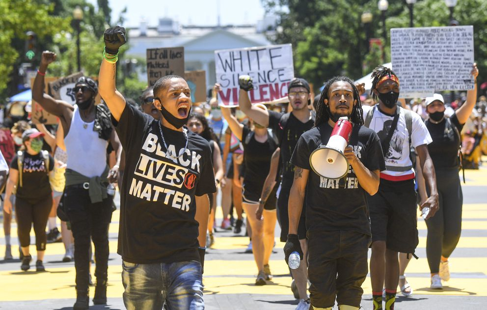 A peaceful protest over the death of George Floyd, police brutality and racial injustice along 16th Street NW that was changed to 'Black Lives Matter Plaza ' near Lafayette Square and the White House. (Washington Post photo by Jonathan Newton)