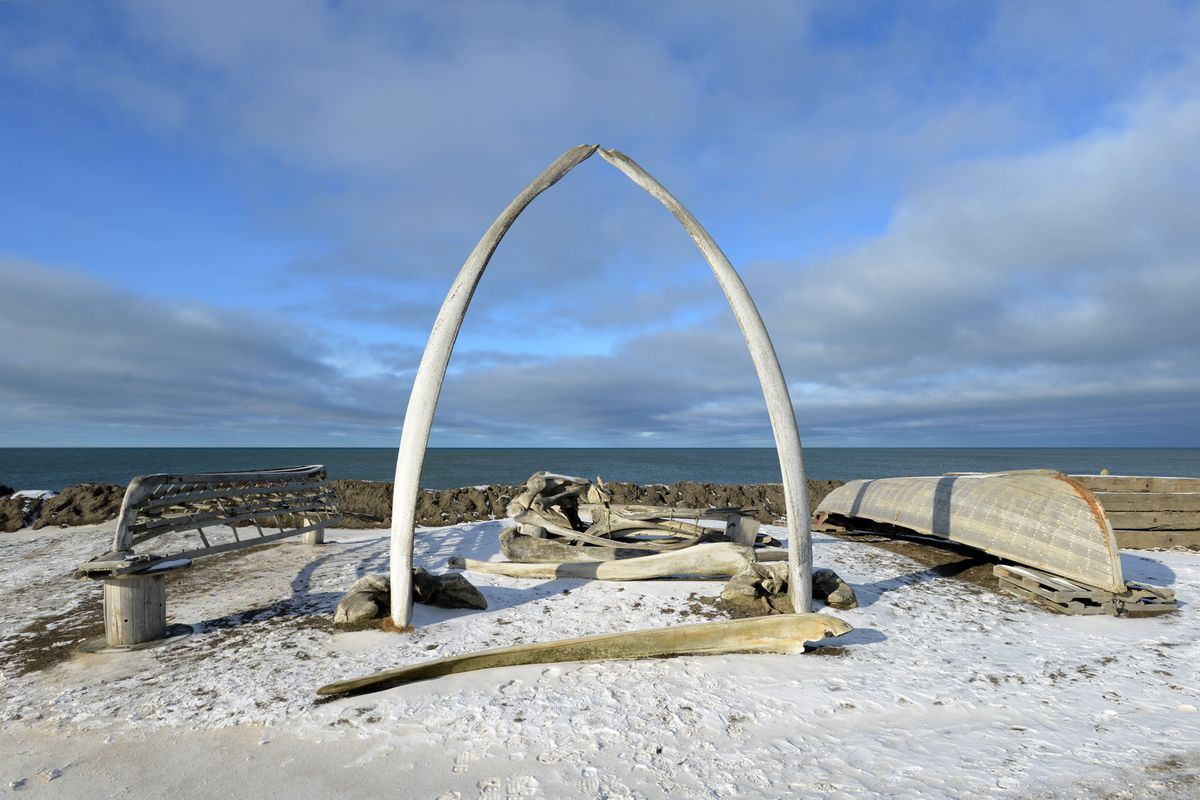 The iconic whale bone arch is photographed on Sept. 23, 2015, in Utqiagvik. (Erik Hill / ADN)