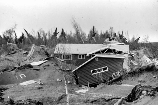 Houses in the Turnagain Heights neighborhood of Anchorage were severely damaged during the March 27, 1964, Great Alaska Earthquake, but eventually the Municipality decided to allow homes to be rebuilt in the area.