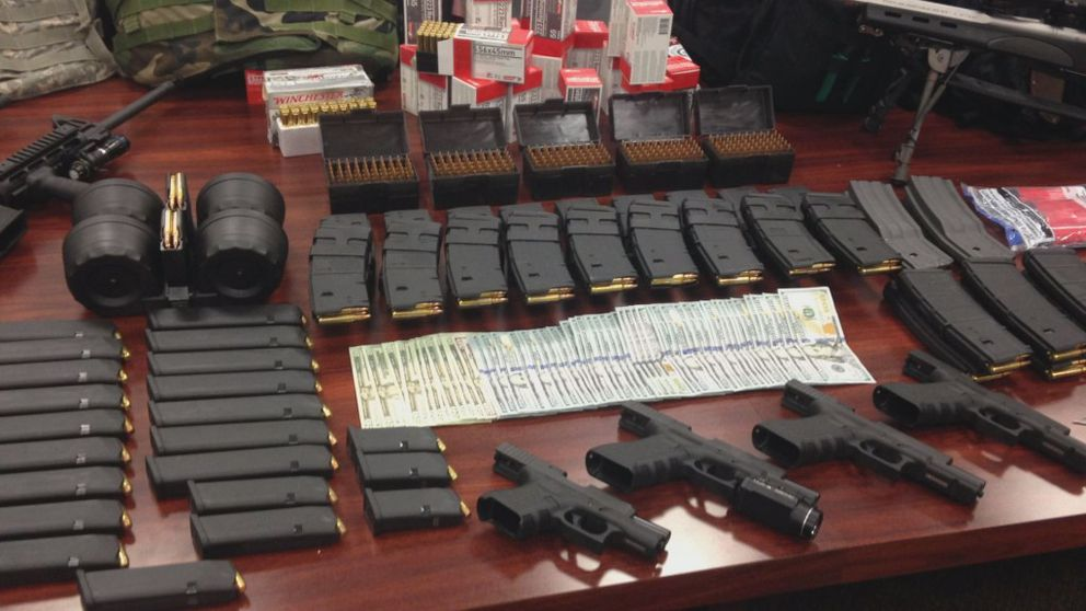 Investigators in Douglas, Ga., seized firearms, thousands of rounds of ammunition and other items when they arrested two drug suspects who they said were plotting to attack the HAARP antenna farm in Alaska. (Coffee County, Ga., Sheriff's Office via WALB)