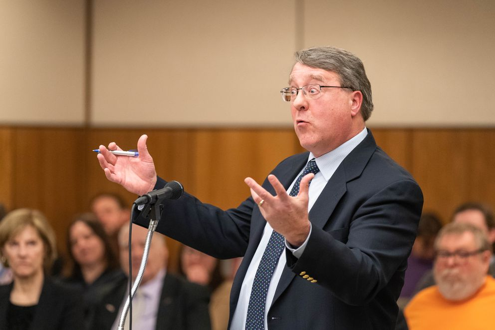 Brewster Jamieson makes arguments Friday on behalf of Stand Tall With Mike, an independent political expenditure group formed to oppose the recall of Gov. Dunleavy. (Loren Holmes / ADN)