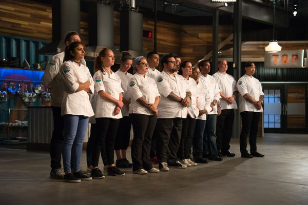 Contestants in Top Chef Episode 1501, including Laura Cole, fifth from the right. (Photo by Paul Trantow / Bravo)