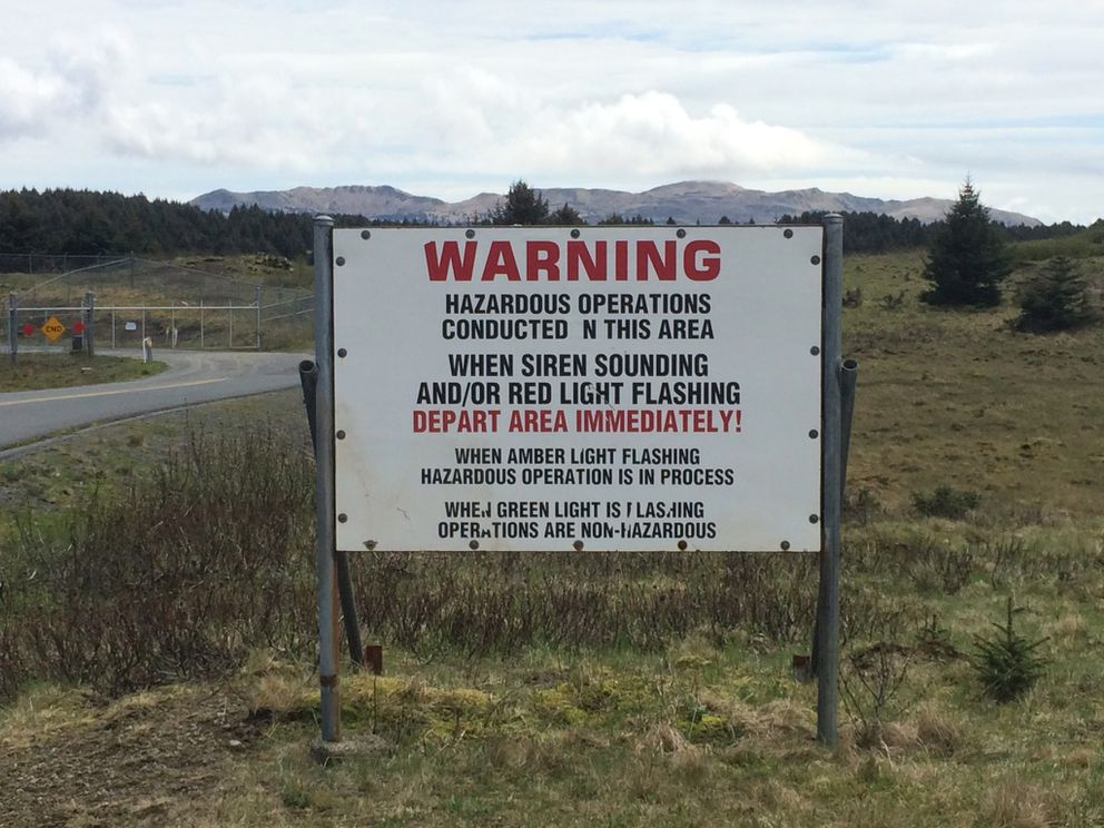 A warning sign at the Pacific Spaceport Complex-Alaska on Kodiak Island, May 2015. (David Hulen / ADN)