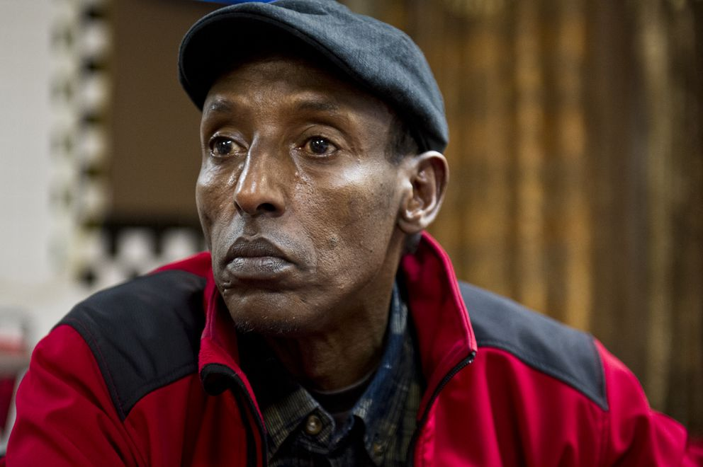 Mohamed Shide, a hospital security guard who has lived in the United States for 18 years, said he had changed his plans to visit his mother in Kenya. He's worried he wouldn't allowed to return to the U.S. if he left. (Marc Lester / Alaska Dispatch News)