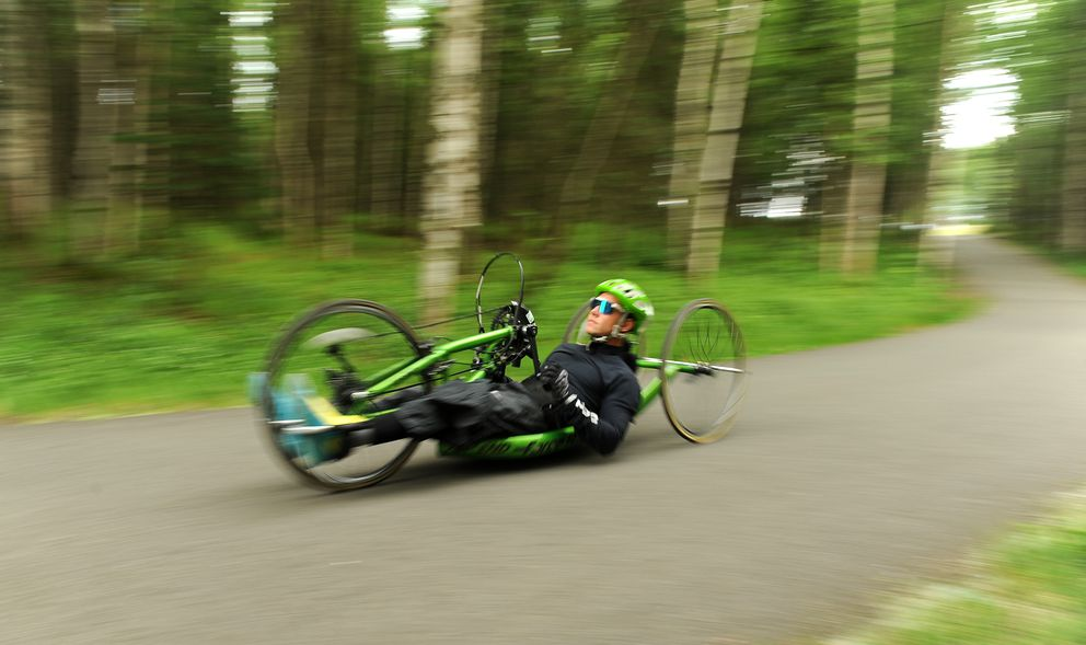 2018 Winter Paralympics gold and silver medal skier Andrew Kurka joined a Challenge Alaska bike ride Goose Lake Park in Anchorage, AK on Thursday June 28, 2018. (Bob Hallinen / ADN)