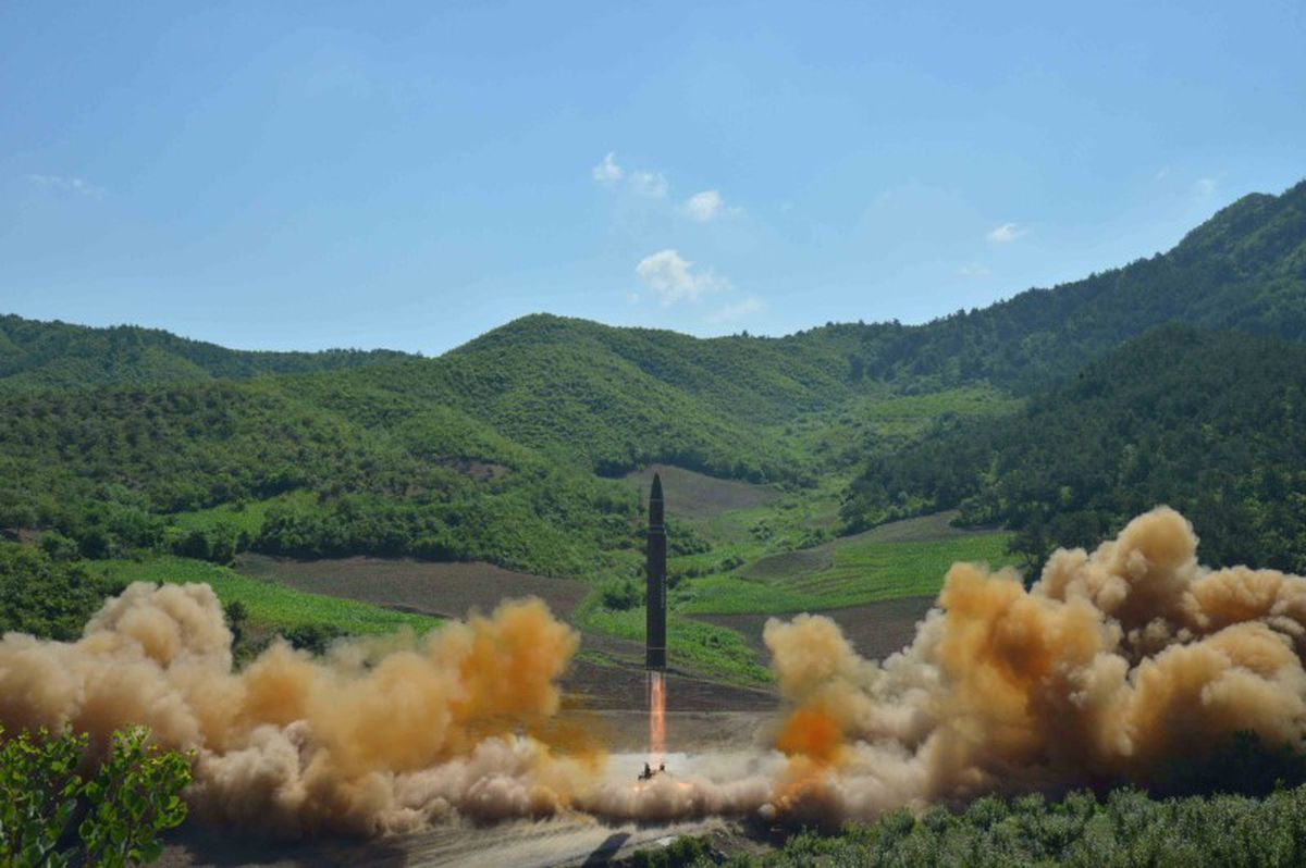 The intercontinental ballistic missile Hwasong-14 is seen during its test launch July 4 in this photo released by North Korea's Korean Central News Agency. KCNA/via REUTERS