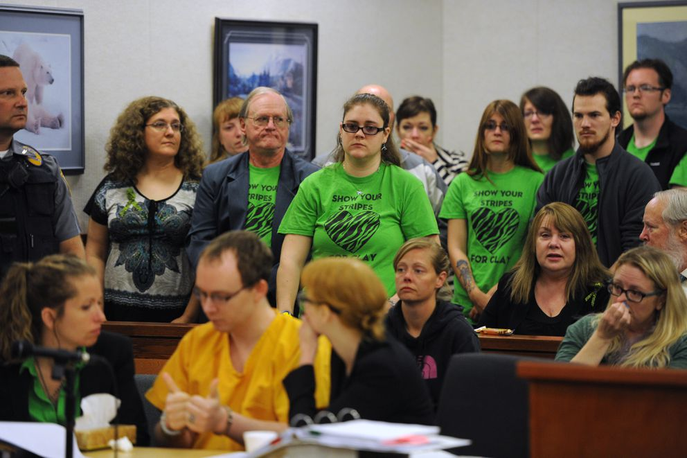 Family and friends show their support for Clayton Allison in a Palmer courtroom on July 8, 2015. (ADN archive)