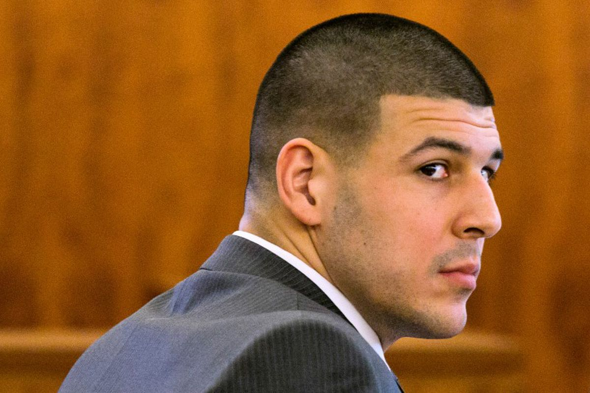 Former NFL player Aaron Hernandez during his murder trial in Fall River, Massachusetts, March 2015. REUTERS/Dominick Reuter