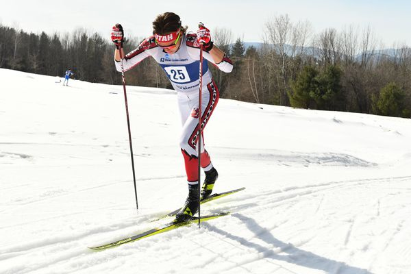 Anchorage's Luke Jager skis his way to second place in the men's classic race at the NCAA Championships in Jackson, N.H., on Thursday, March 11, 2021. (Photo by Clarkson Creative Photography)