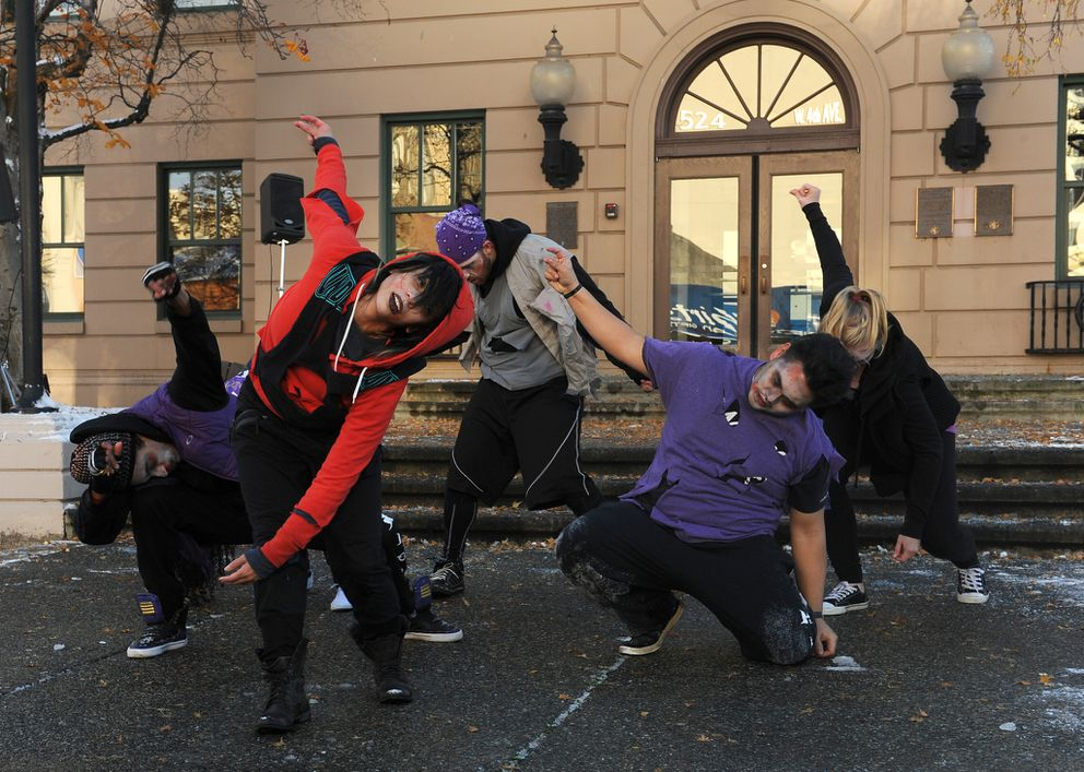 Irenerose Antonio and other members of the professional dance troop Hardcore from the Underground Dance Co. perform on Halloween in downtown Anchorage as the Anchorage Downtown Partnership, Ltd. and the downtown businesses hosted a trick or treat day in downtown Anchorage, AK on Saturday Oct. 31, 2015.