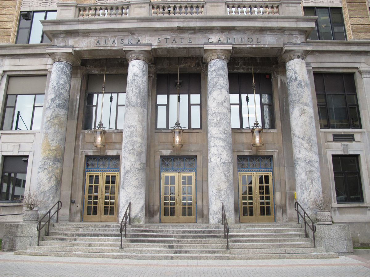 FILE - This April 2, 2012, file photo shows the front entrance of the Alaska state Capitol building in Juneau, Alaska. (AP Photo/Becky Bohrer, File)