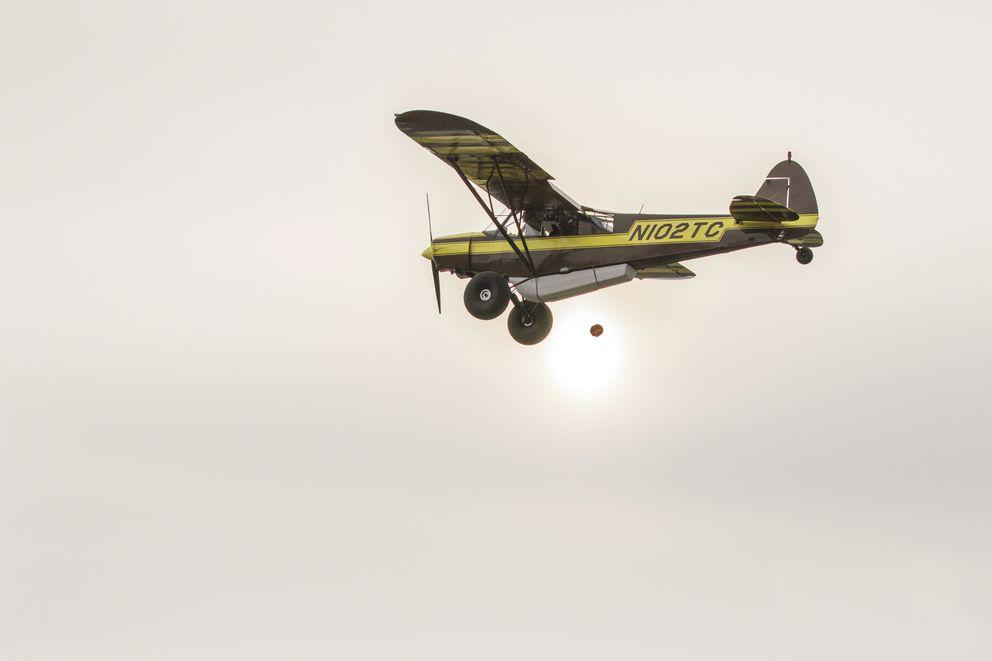 A pumpkin falls from Brian Mason's plane at the Great Alaskan Pumpkin Dropon Saturday. Mason is a science teacher at Chugiak High School. (Cory Kittle)