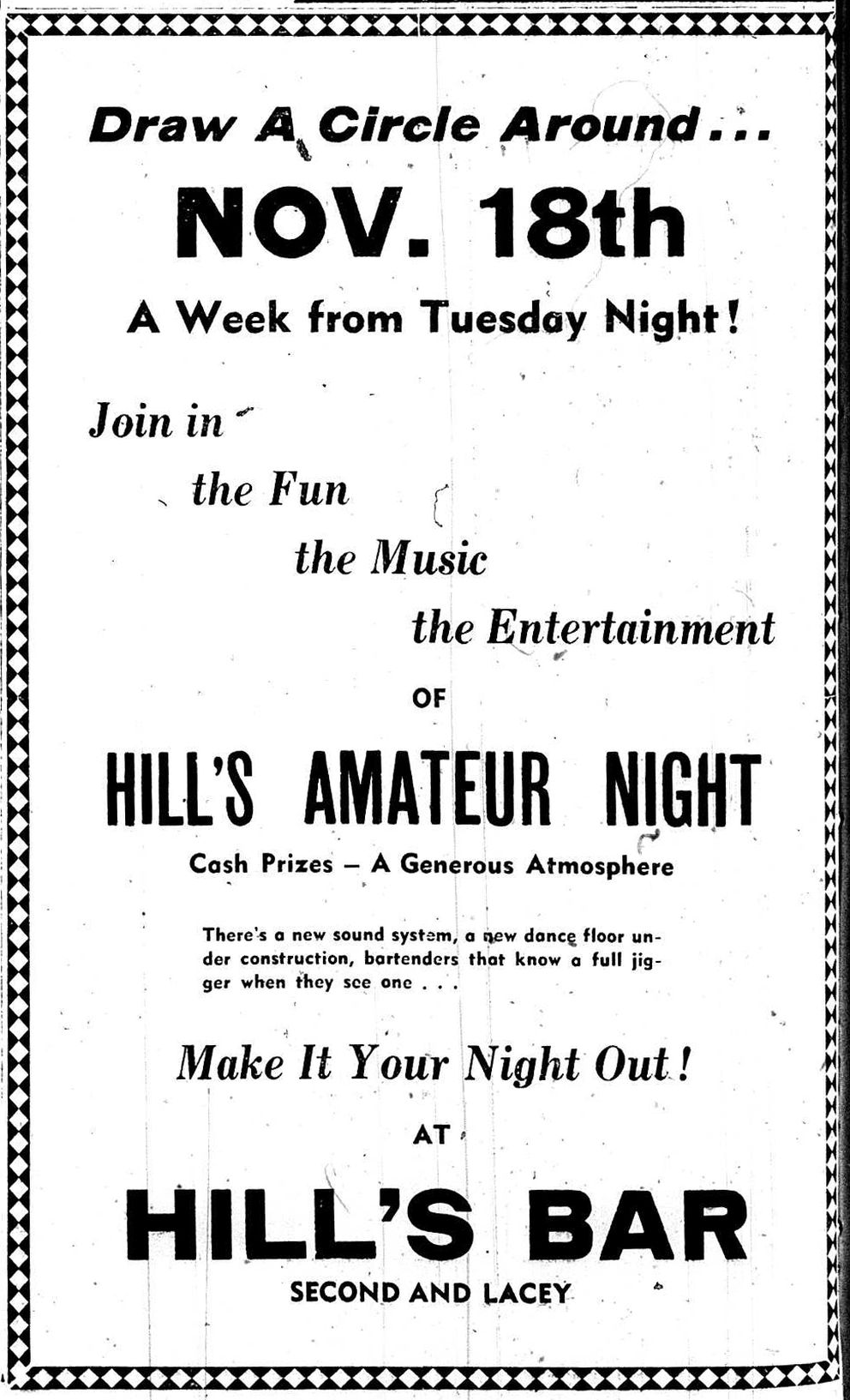 An ad for Hill's Bar published in the Nov. 8, 1947, edition of the Fairbanks Daily News-Miner. (Courtesy Theressa Leaner)