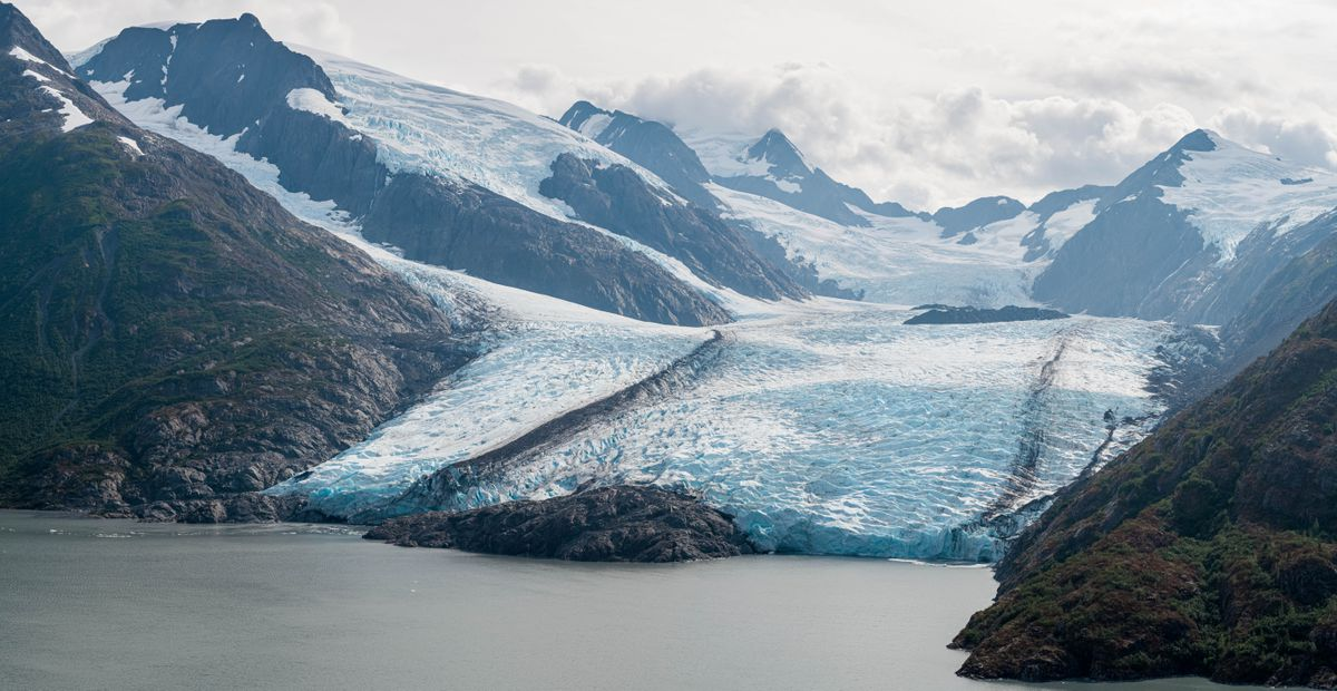 Portage Glacier sits at the edge of Portage Lake on Wednesday, Aug. 14, 2019.