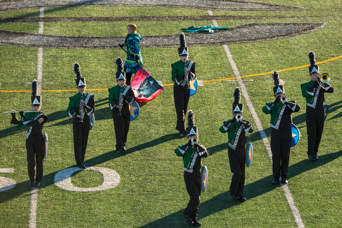 The Colony High School marching band performs on Thursday, September 24, 2015. Their group is the only high school marching band in Alaska.