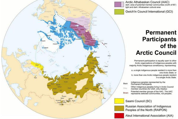 A map of the Arctic Council's permanent participants. With the melting of the Arctic Ocean and increasing economic interest, some non-Arctic nations have been seeking increased participation in the council.