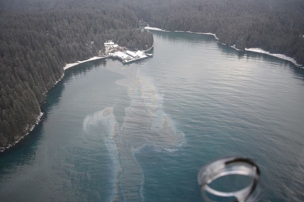 A Coast Guard Air Station Kodiak MH-60 helicopter crew and Marine Safety Detachment Kodiak pollution responders conduct an overflight in response to an oil spill in Shuyak Strait, 49 miles north of Kodiak, Alaska, Feb. 27, 2018. The Coast Guard and Alaska Department of Environmental Conservation established a unified command in response to the oil spill. (U.S. Coast Guard photo)