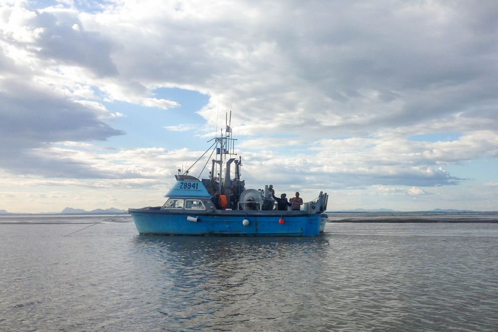 Fishing boats travel in Nushagak Bay on July 12, 2016. The Nushagak District, near Dillingham, is one of Bristol Bay's five commercial fishing districts. Through July 13, 6.4 million salmon were harvested there. (Molly Dischner / The Bristol Bay Times)