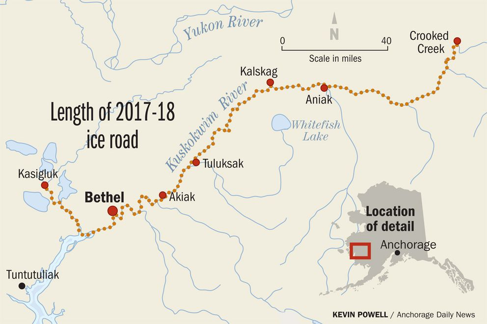 Ice road along Kuskokwim River a \'blessing\' for villages ...