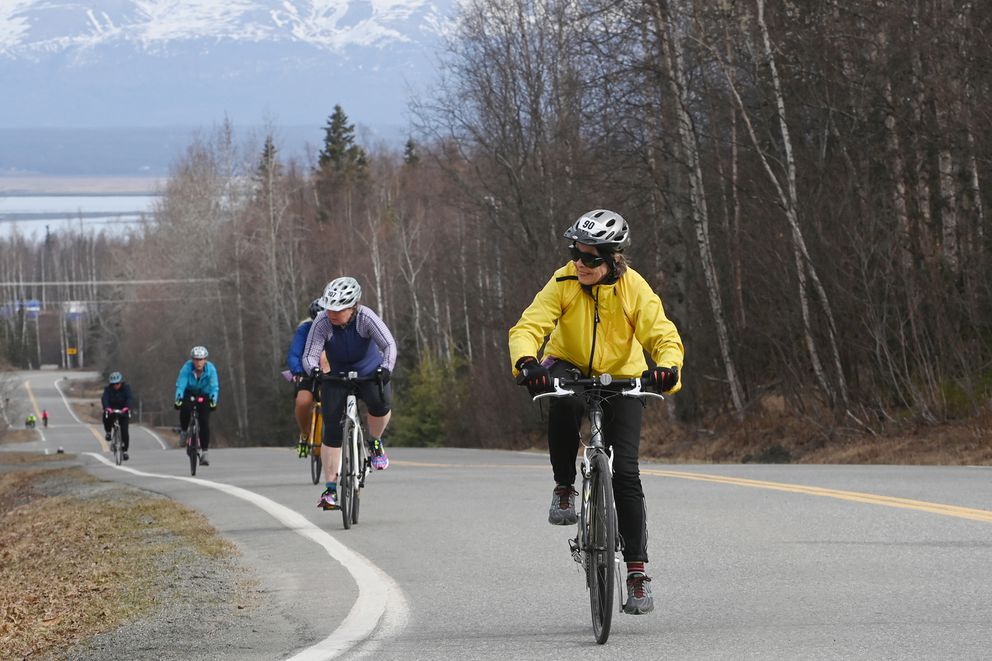 Competitors in the Bike for Women pedal up one of the hills on South Birchwood Loop Road on Sunday, May 2, 2021. (Bill Roth / ADN)