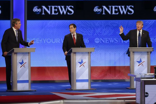 Former Florida Gov. Jeb Bush and businessman Donald Trump spar as Sen. Marco Rubio, R-Fla., listens in the middle during a Republican presidential primary debate hosted by ABC News at St. Anselm College Saturday, Feb. 6, 2016, in Manchester, N.H.
