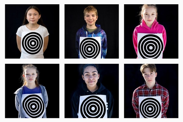 "Six of the portraits in the series ""I am NOT a target: the spaces and places where children and guns intersect,"" by Fairbanks photographer Kate Wool. (Courtesy @kateswool on Instagram)"