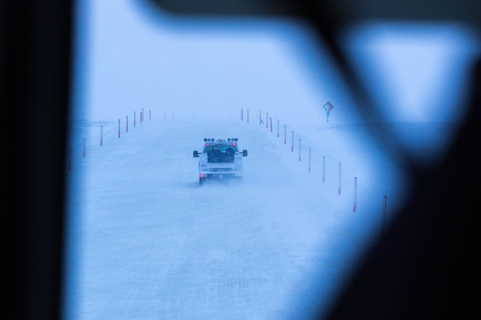 A truck drives on an ice road towards the Alpine oil field on Alaska's North Slope, Tuesday, February 9, 2016. Alpine is only connected to existing oil development infrastructure by seasonal ice roads and by air. (Loren Holmes / ADN)