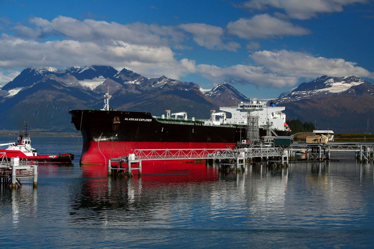 The Alaskan Explorer, a tanker owned by BP that can carry 1 million barrels of oil, is seen docked at the Valdez terminal of the Trans-Alaska Pipeline System.(Alaska Journal of Commerce)