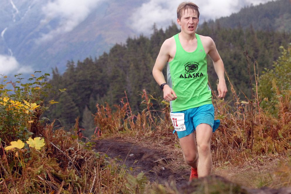 Mikey Connelly runs up the mountain during the Alyeska Climbathon Saturday, Sept. 14, 2019 at Alyeska Resort in Girdwood. (Matt Tunseth / Chugiak-Eagle River Star)
