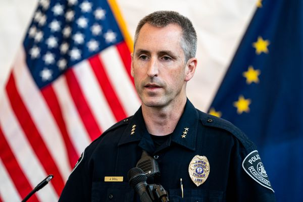 Anchorage Police Chief Justin Doll gives a media briefing at APD headquarters on July 30, 2020. (Loren Holmes / ADN archive)