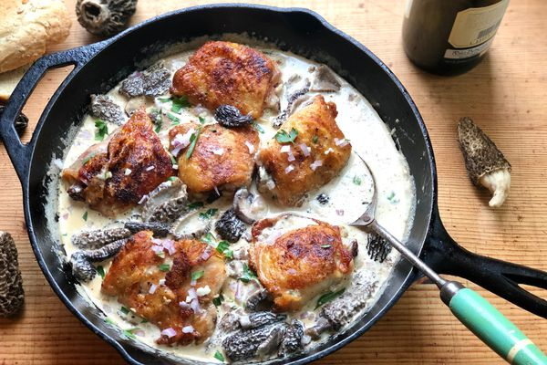 Crispy chicken with morels and cream (By Kim Sunée)