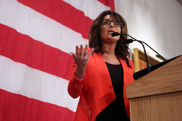 In this April 1, 2016, file photo, former Alaska Gov. Sarah Palin speaks in Milwaukee.