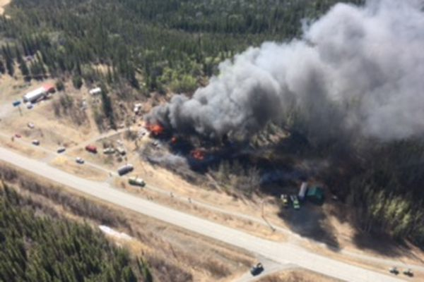 Responders took aerial and ground photos of a 2-acre fire that escaped an unattended burn barrel on Tuesday, May 16, 2017, destroying a home near Mile 102 of the Old Richardson Highway. (From Alaska Division of Forestry)