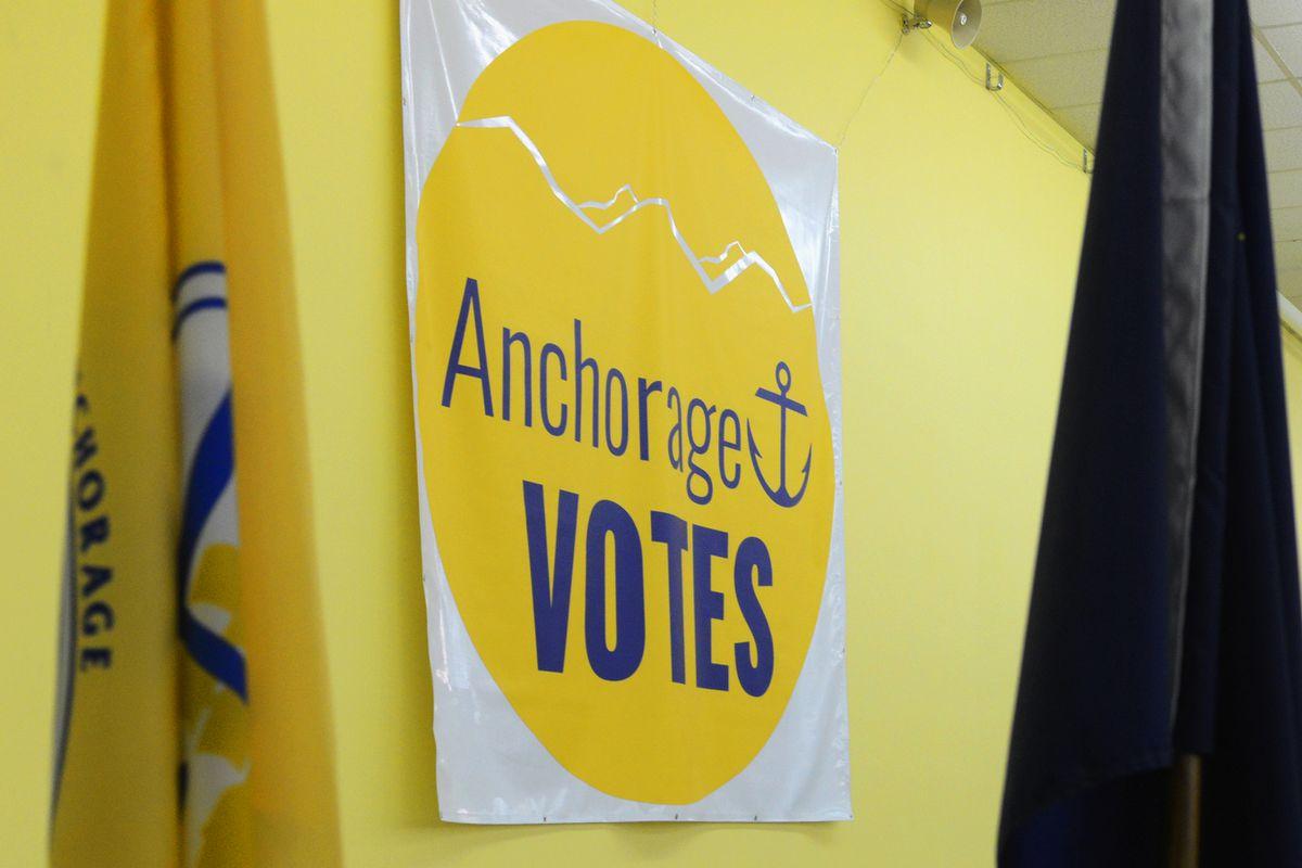 A banner hangs at the municipal election center, 2017. (Erik Hill / ADN file)