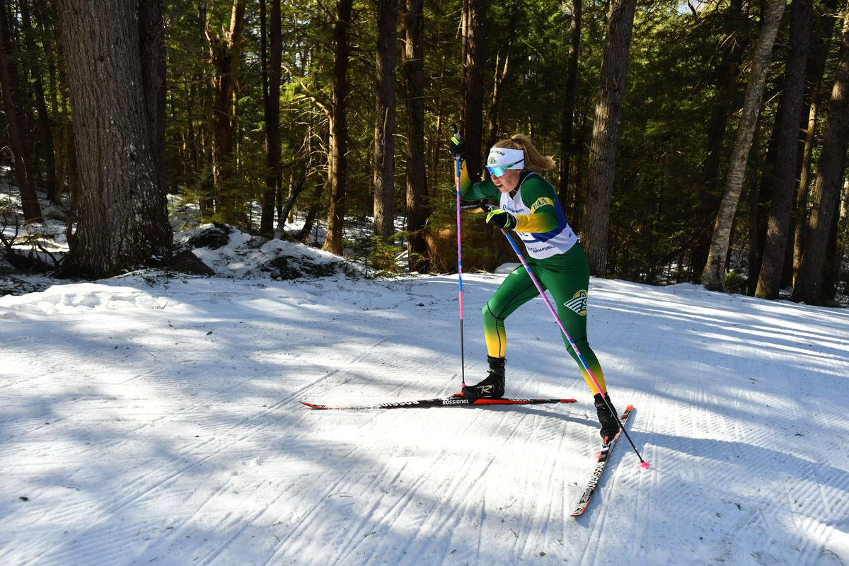 Astrid Stav, a UAA freshman, en route to a runner-up finish in the women's 15K freestyle race Saturday in Jackson, New Hampshire. It was her second top-5 finish of the NCAA championships. (Photo by Clarkson Creative)