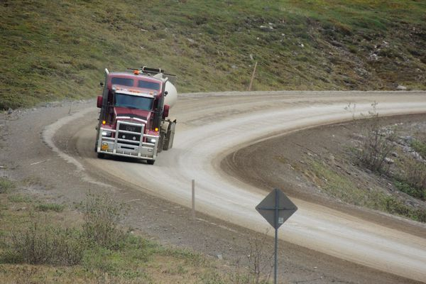 Joy Wiebe drove truck on the Dalton Highway. Photographed June 7, 2015. (Photo by Dawn Foster)