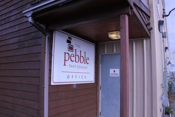 A Pebble Partnership office in Iliamna in April, 2016. KDLG photo
