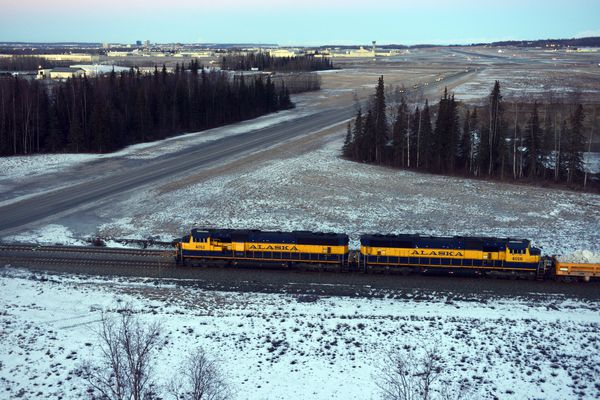 An Alaska Railroad train nears Joint Base Elmendorf-Richardson en route from Fairbanks to Anchorage on Thursday morning, March 3, 2016.